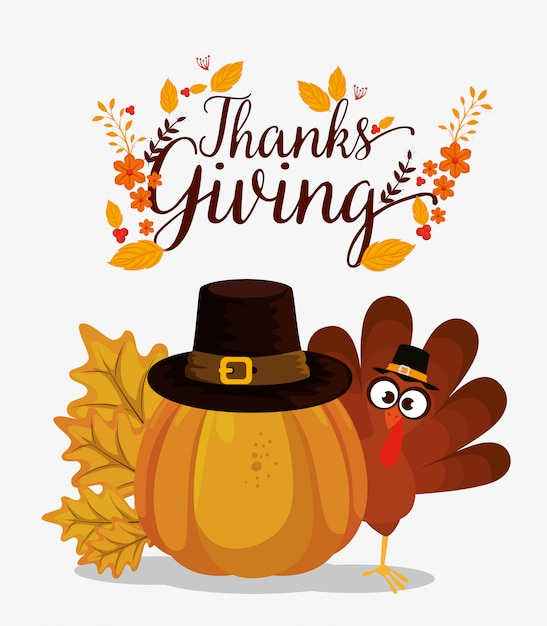 Happy thanks giving card with turkey Free Vector
