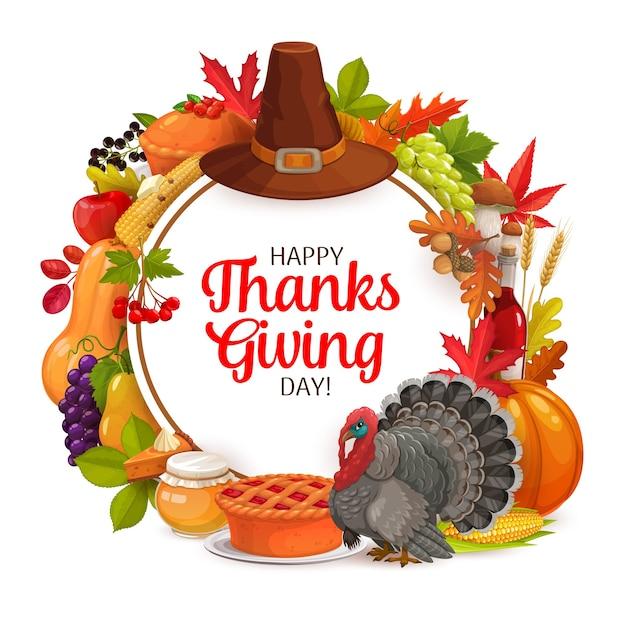행복 한 감사주는 하루 라운드 프레임. 자르기, 호박, 칠면조, 모자 또는 열매와 낙된 엽 가을 휴가 인사말 카드. 가을 휴가 축하, 단풍 나무, 참나무, 자작 나무 또는 마가목 잎 프리미엄 벡터