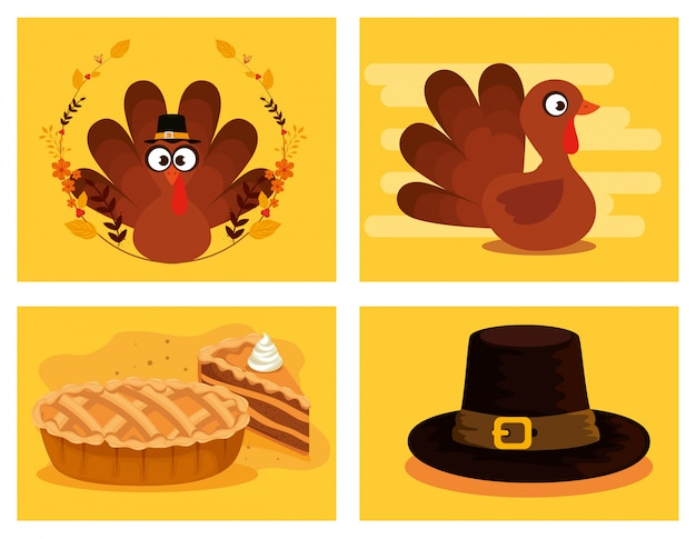 Happy thanks giving icon set Free Vector
