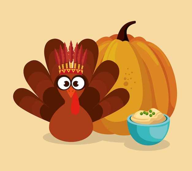 Happy thanks giving with turkey Free Vector