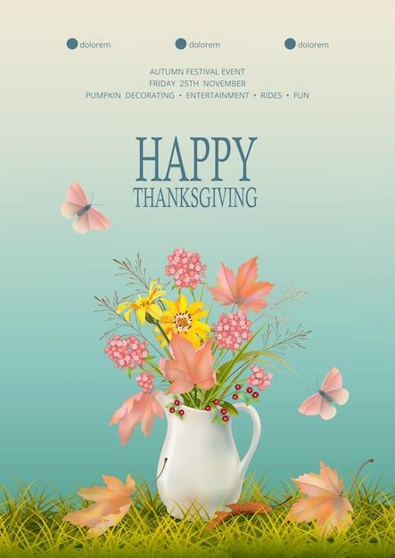 행복한 추수 감사절. 세라믹 용기와 낙엽에 꽃 부케와 가을 배경 프리미엄 벡터
