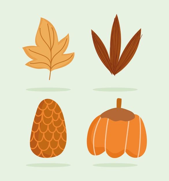 С днем благодарения, осенние листья тыквы и сосновые шишки Premium векторы