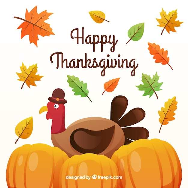 Happy thanksgiving background with turkey and\ pumpkins