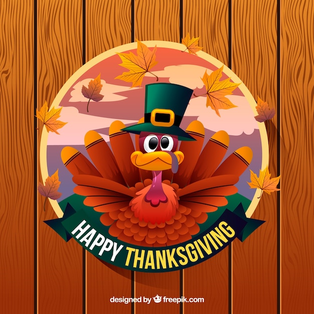 Happy thanksgiving background with\ turkey