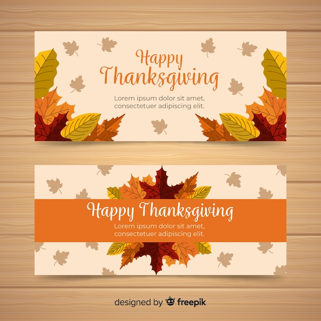 Happy thanksgiving banner set in flat design with autumn leaves Free Vector