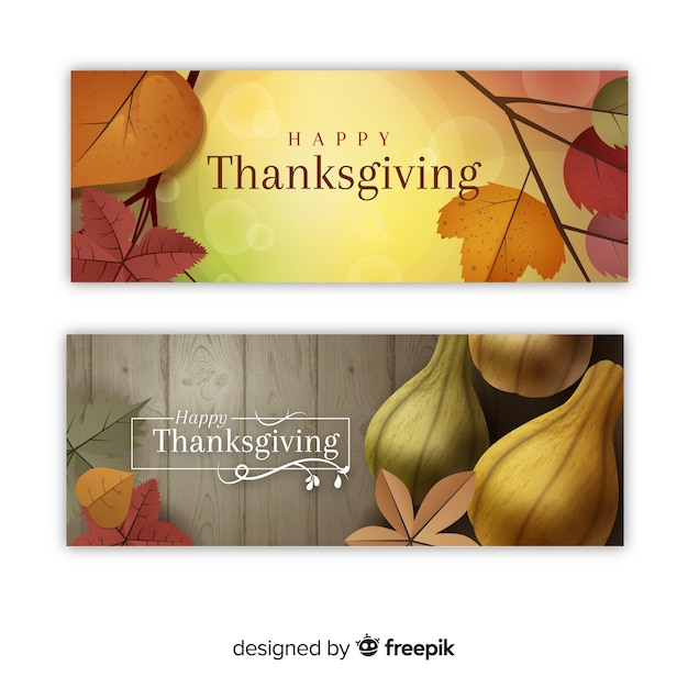 Happy thanksgiving banner set Free Vector