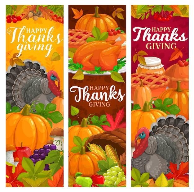 떨어지는 잎, 가을 수확, 호박 파이, 칠면조, 꿀, 과일과 함께 즐거운 추수 감사절 배너. 마가목 잎이 달린 버섯, 단풍 나무, 참나무 또는 포플러 및 자작 나무. 감사합니다. 프리미엄 벡터