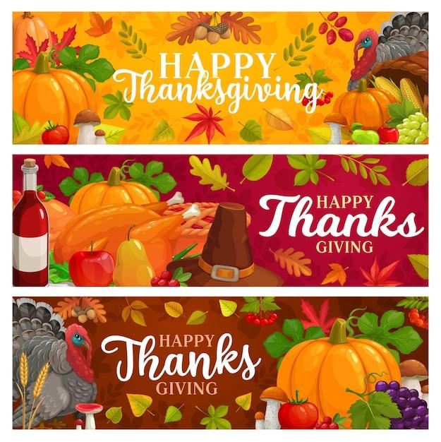 떨어지는 잎, 가을 수확, 호박, 모자와 와인 칠면조와 함께 즐거운 추수 감사절 배너. 버섯, 단풍 나무, 참나무 또는 포플러와 자작 나무, 마가목 감사하는 날 계절 인사말 프리미엄 벡터