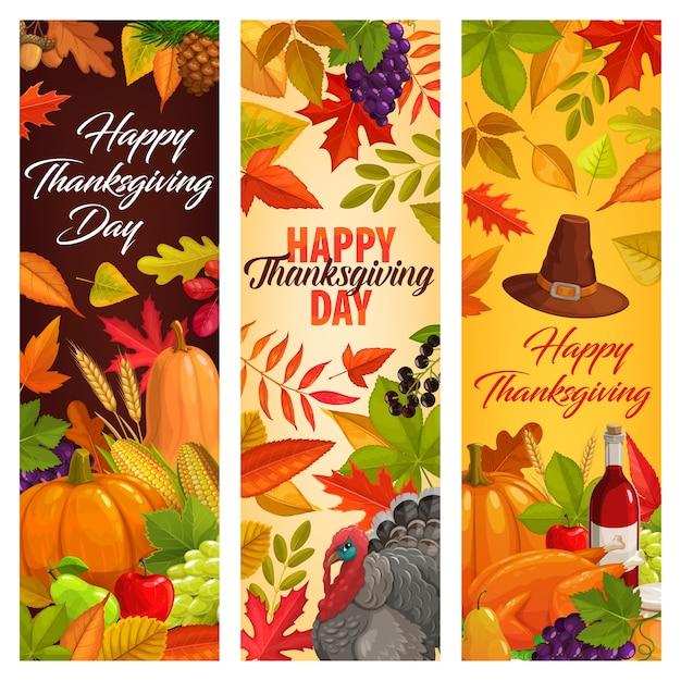 떨어지는 잎, 가을 수확, 호박, 와인, 칠면조, 꿀, 과일과 함께 즐거운 추수 감사절 배너. 프리미엄 벡터