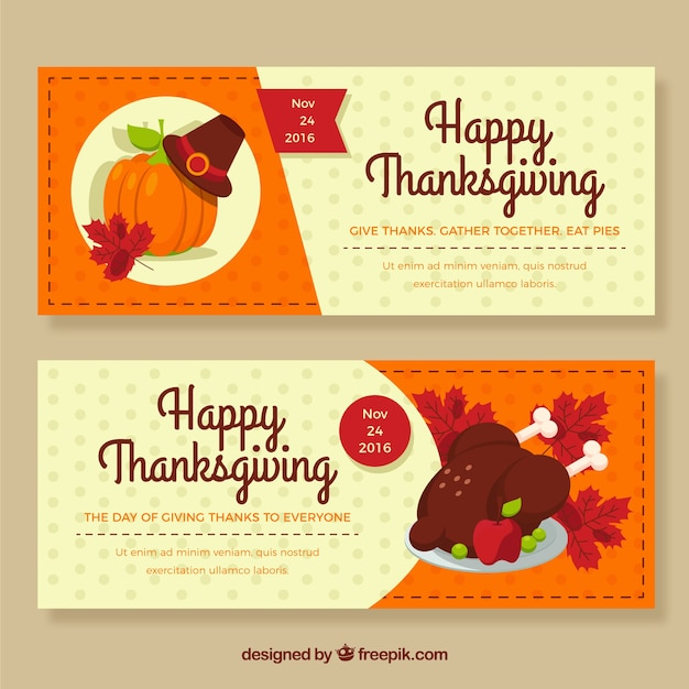 happy thanksgiving banners Vector | Free Download