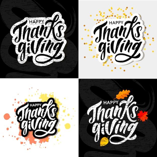 Happy thanksgiving calligraphy sticker Premium Vector