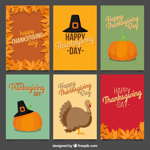 Happy thanksgiving card collection in vintage style