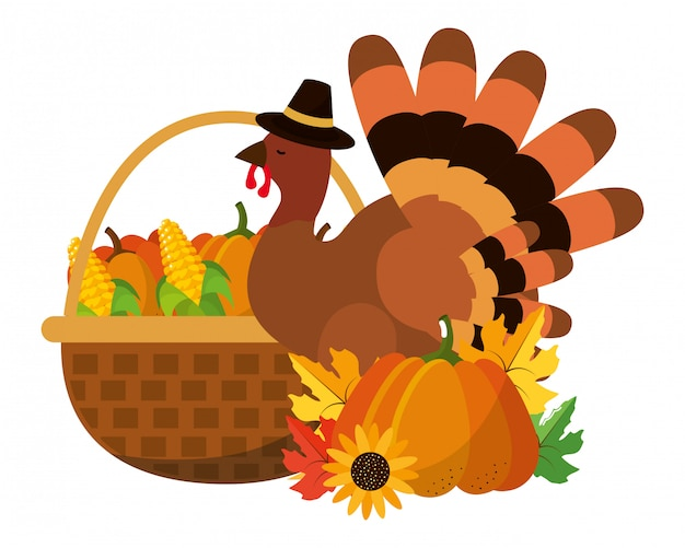 Happy thanksgiving cartoon Premium Vector