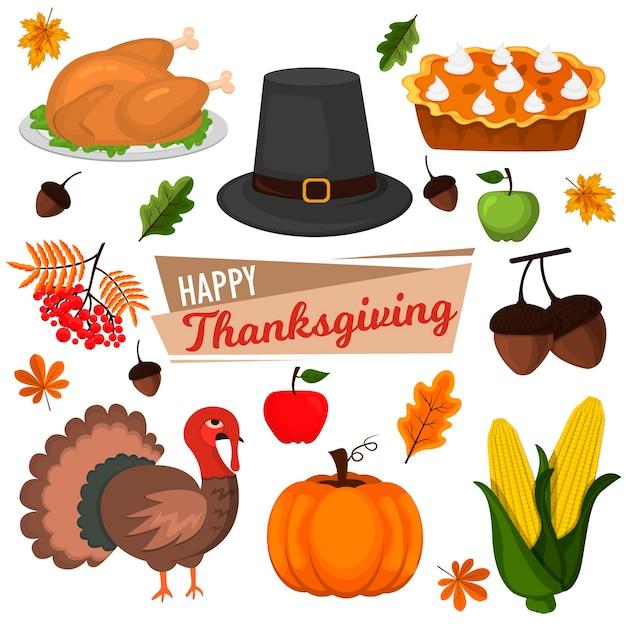 С днем благодарения празднование дизайн мультфильм осень приветствие урожай сезон праздник иконки. ужин из традиционных блюд, сезонный день благодарения. Premium векторы