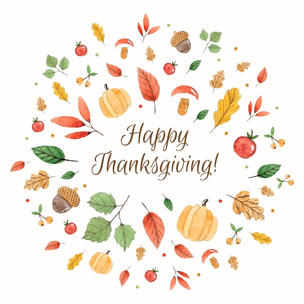 Happy Thanksgiving >> Happy Thanksgiving Composition With Watercolor Elements Vector