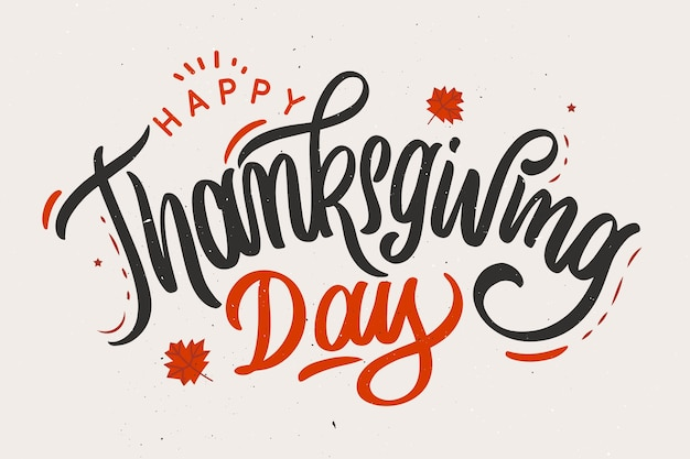 Happy thanksgiving concept with lettering Free Vector