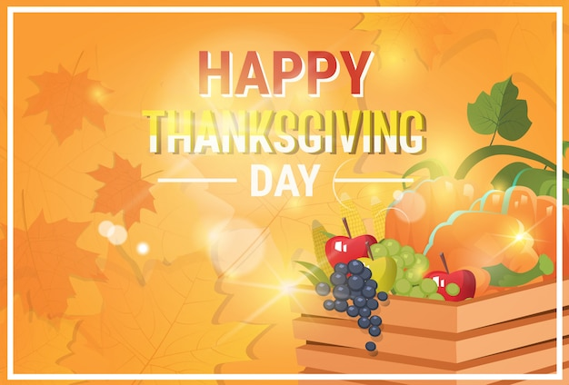 Happy thanksgiving day autumn traditional greeting card Premium Vector