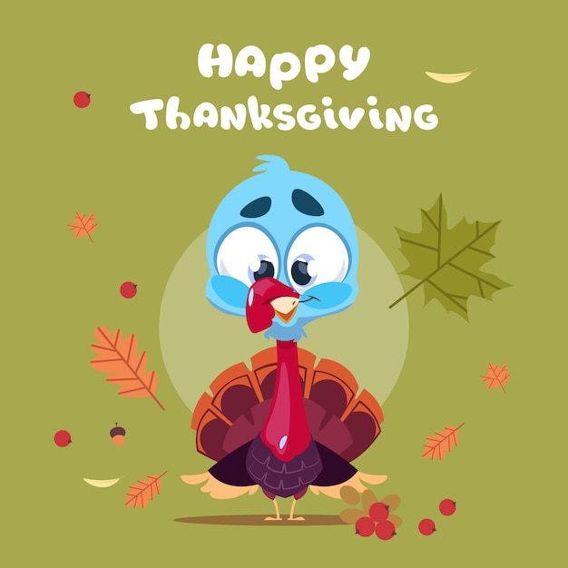 Happy thanksgiving day autumn traditional harvest greeting card with turkey Premium Vector