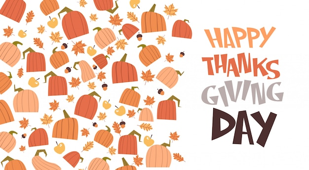 Happy thanksgiving day autumn traditional harvest greeting card Premium Vector