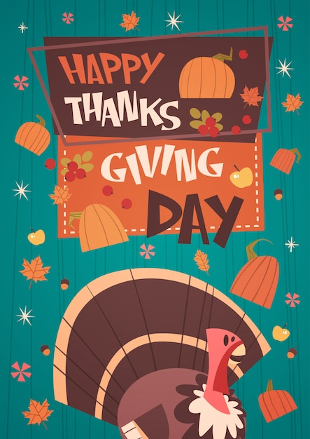 Happy thanksgiving day autumn traditional harvest holiday greeting card with turkey Premium Vector