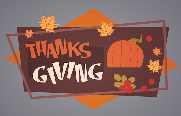 Happy thanksgiving day autumn traditional harvest holiday greeting card Premium Vector