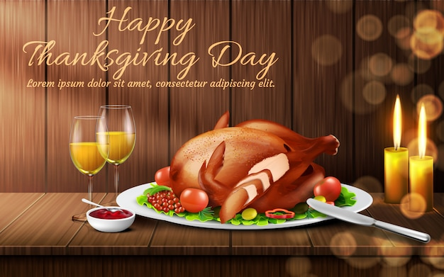 Happy thanksgiving day background. traditional holiday dinner, roasted turkey with vegetables Free Vector
