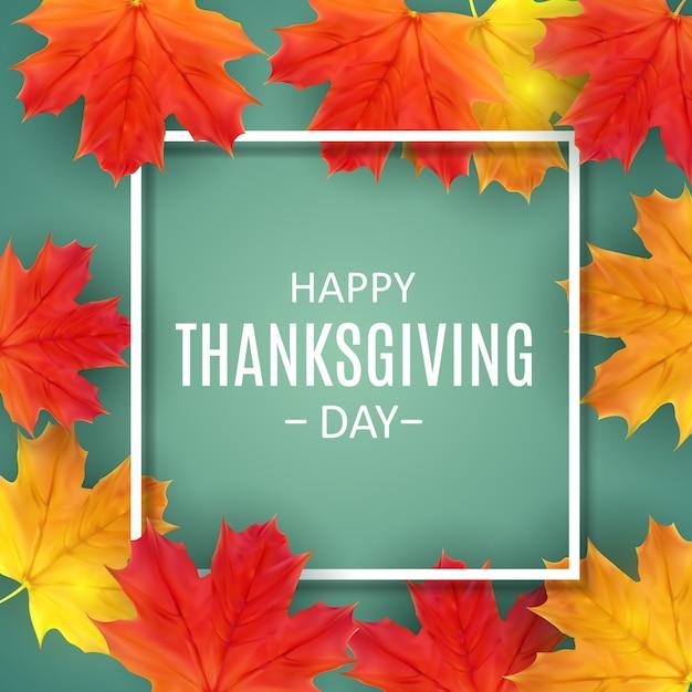 光沢のある秋の自然の葉で幸せな感謝祭の日の背景 Premiumベクター