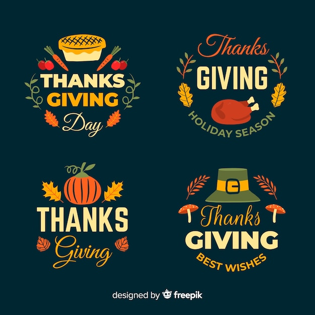 Happy thanksgiving day badge collection in hand drawn style Free Vector