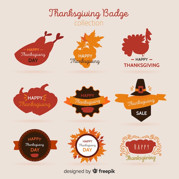 Happy thanksgiving day badge collection Free Vector