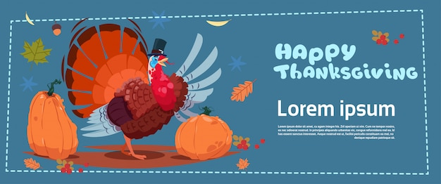 Happy thanksgiving day banner. autumn traditional harvest with turkey Premium Vector