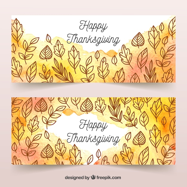 Happy thanksgiving day banner set in watercolor style Free Vector
