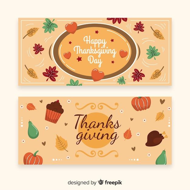 Счастливый баннер дня благодарения с едой и тыквами Бесплатные векторы