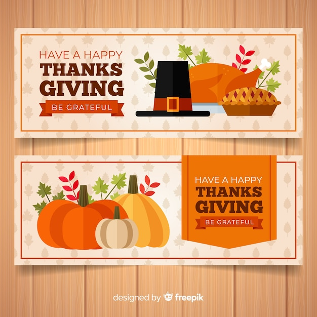 Happy thanksgiving day banner set with food and pumpkins Free Vector