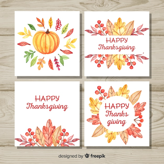 Happy thanksgiving day card collection in watercolor style Free Vector