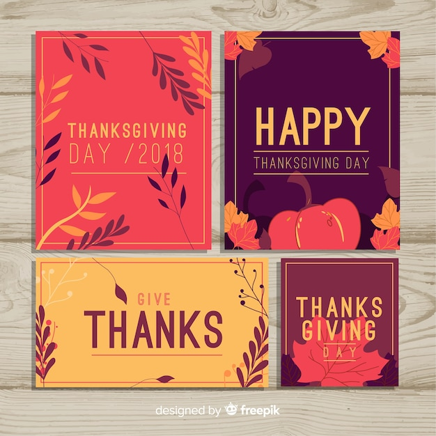 Happy thanksgiving day card collection Free Vector