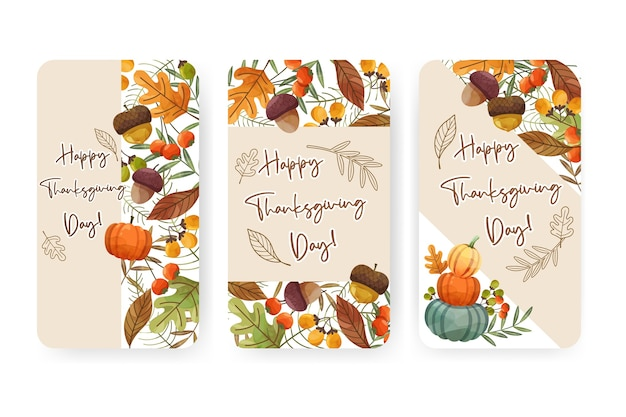 Happy thanksgiving day card o flyer con noci, zucca e foglie di acero. Vettore gratuito
