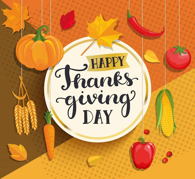 Happy thanksgiving day card on geometric background. Premium Vector