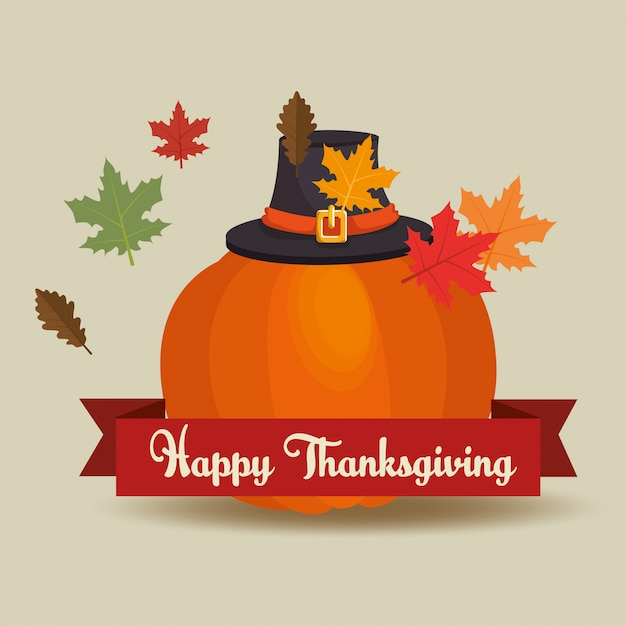 Happy thanksgiving day card greets pumpkin hat pilgrim and leaves Free Vector
