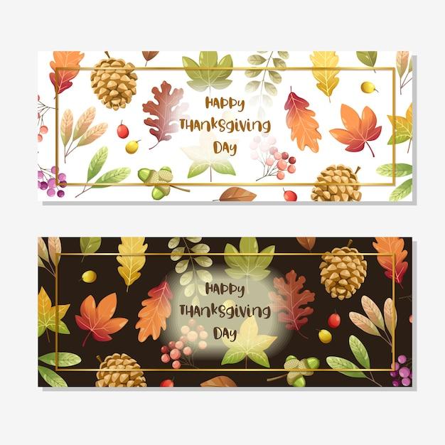 С днем благодарения карта или флаер с грецким орехом, тыквой и кленовыми листьями. Бесплатные векторы