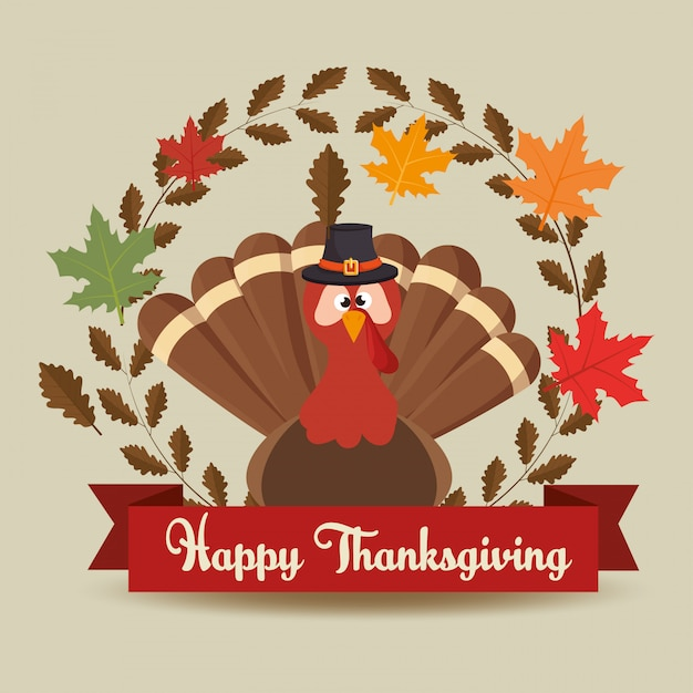 Happy thanksgiving day card turket hat leaves banner Free Vector