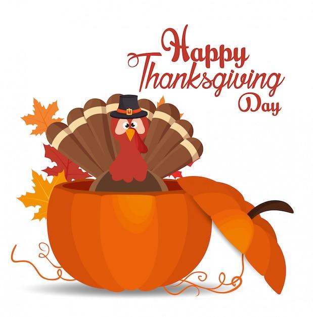 Happy thanksgiving day card turkey hat pumpkin Free Vector