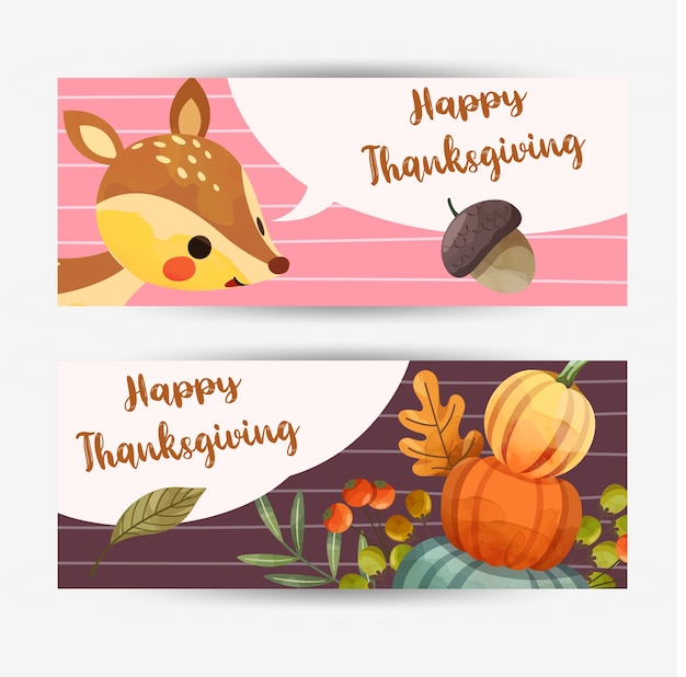 Happy thanksgiving day  card with deer, walnuts, pumpkin and leaves Free Vector