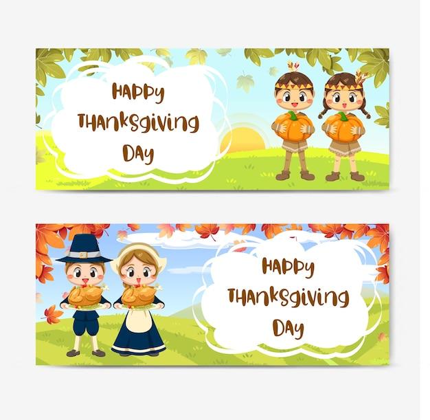 Счастливая карточка дня благодарения с девушкой, кленовым листом и тыквой. Бесплатные векторы