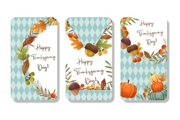 Счастливая карта дня благодарения с кленовым листом и тыквой. Бесплатные векторы