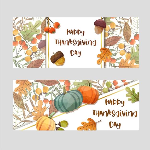 Happy thanksgiving day card con foglia d'acero e zucca. Vettore gratuito