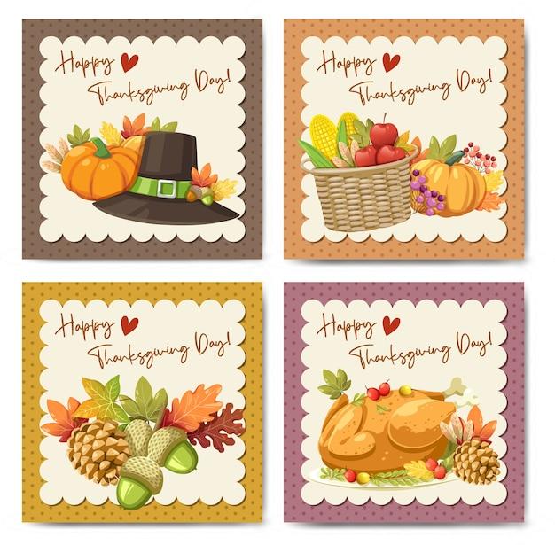 Happy thanksgiving day card con zucca mela mais e foglie di acero Vettore gratuito
