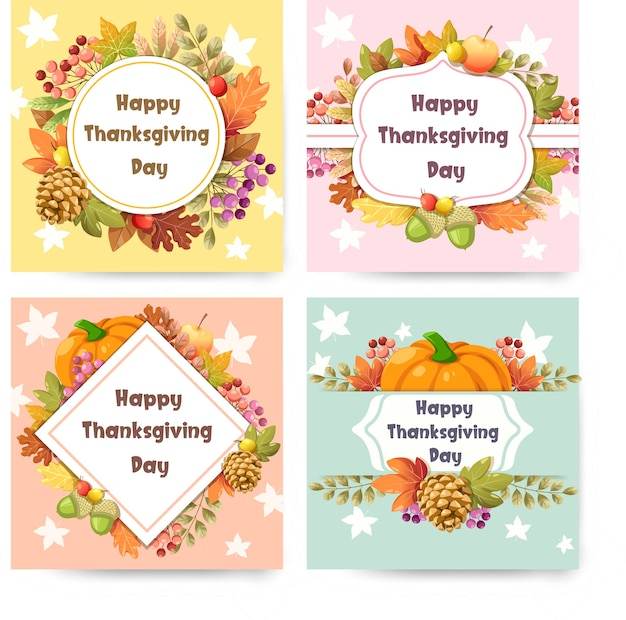 Happy thanksgiving day card con zucca Vettore gratuito