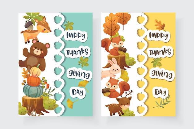 С днем благодарения карта с белкой, медведем, кроликом и оленем. Бесплатные векторы