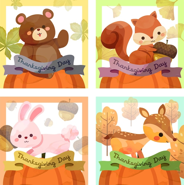 Happy thanksgiving day card with squirrel, bear, rabbit and deer Free Vector