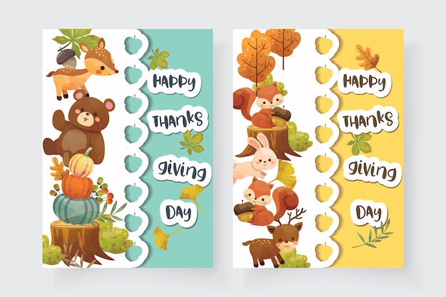 Happy thanksgiving day card con scoiattolo, orso, coniglio e cervo. Vettore gratuito